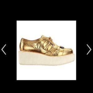 Chanel Gold Platform Sneakers Designer Size 37